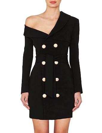 d3463e9e35e5 Sunlen Women s Off Shoulder Black Mini Elegant Blazer Dresses Gold Buttons  SL1BH5698 (Black