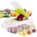 Uten Powerful Manual 4-Cup Food Chopper Vegetable Fruit Salad Mixer with 3 Stainless Steel Blades