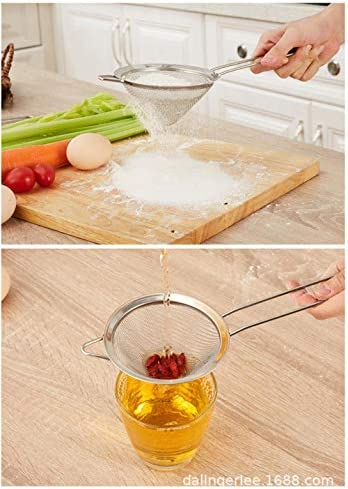 OHOME 1 PC 4 Sizes Stainless Steel Fine Mesh Cocktail Strainer Colander Sifter Sieve Bar Whiskey Tool Vegetable Scraper Filter Spoon,10cm