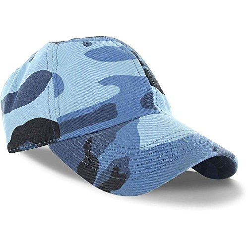 [Blue Camo_(US Seller)Curved Bill Plain Baseball Cap Visor Hat Adjustable] (Aerobics Costume Australia)