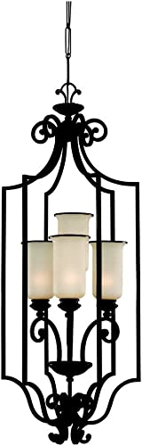 Sea Gull Lighting 51146-814 4-Light Acadia Hall and Foyer Fixture, Champagne Seeded Glass and Misted Bronze