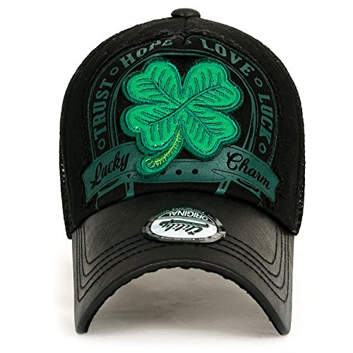 ililily Four Leaf Clover Patch Faux Leather Brim Trucker Hat