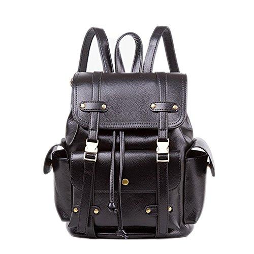 Plover's Bag Backpacks Women Vintage PU Leather Backpack School Backpack Daypacks (Marrón) Negro