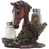 country kitchen table decor Chestnut Stallion Glass Salt & Pepper Shaker Set with Decorative Brown Horse Statue Holder for Western Ranch Decor or Country Farm Kitchen Table Centerpieces As Collectible Gifts for Farmers