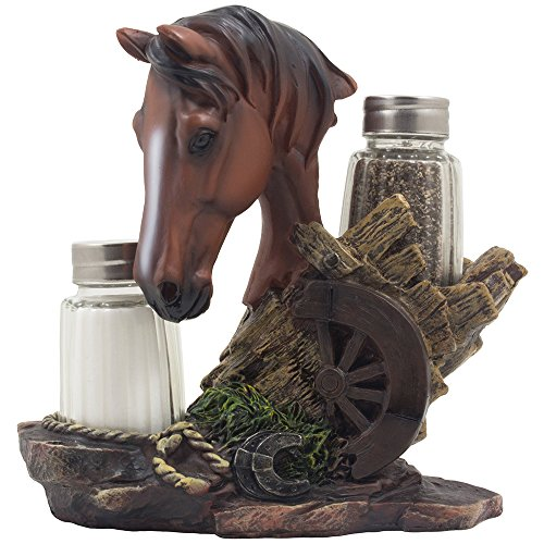Chestnut Stallion Glass Salt & Pepper Shaker Set with Decorative Brown Horse Statue Holder for Western Ranch Decor or Country Farm Kitchen Table Centerpieces As Collectible Gifts for -