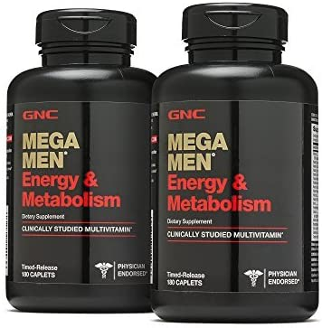 GNC Mega Men Energy & Metabolism, Twin Pack, 180 Caplets per Bottle, Increased Energy, Metabolism, and Calorie Burning