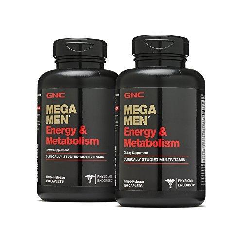 GNC Mega Men Energy Metabolism - 180 Caplets, 2 Pack with 90 Servings Each ()