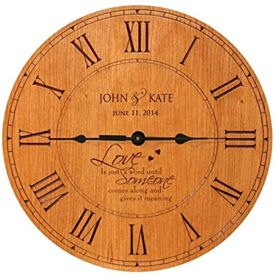 "Wedding Clock or Anniversary Clock "" Love is just a word until Someone comes along and give it meaning"" - Laser engraved Verse : Love is just a word until Someone comes along and gives it meaning Made in USA Measure 12""X12"" X 1.5"" Built in Easel for tabletop display or Wall display with wall tooth hanger on back - wall-clocks, living-room-decor, living-room - 51aWWqZh%2BQL. SS400  -"
