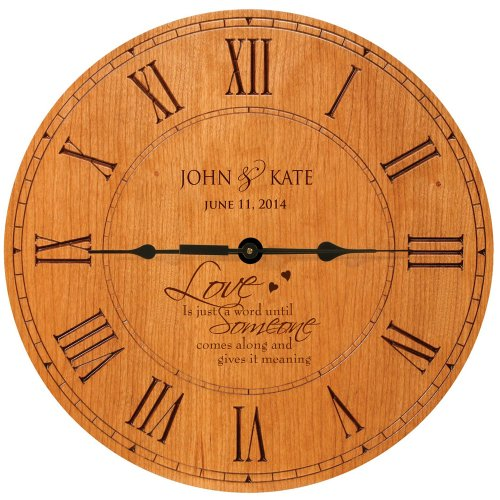 LifeSong Milestones Wedding Clock or Anniversary Clock Love is just a word until Someone comes along and give it meaning