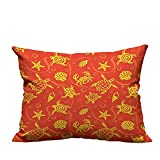 alsohome Zippered Pillow Covers Swimming Turtles and Crabs with Shells Bubbles and Starfish Tropical Ninja Decorative Couch 19.5x54 inch(Double-Sided Printing)