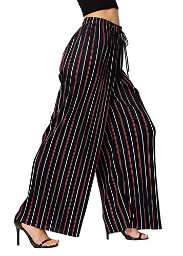 Premium Pleated Palazzo Pants for Women and Maxi Skirts - High Waist - Wide Leg - Drawstring (One Size, Navy Speed Racer)
