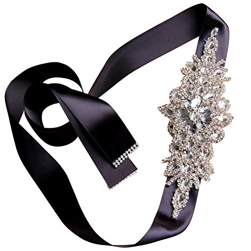 olyrjie Rhinestone Wedding Dress Belt Ribbon Crystals Evening Sashes Handmade (175cm long, ()