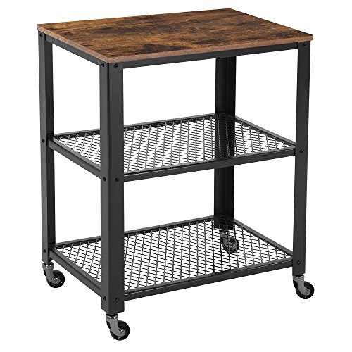 SONGMICS Rustic 3-Tier Serving Cart and Rolling Utility Storage Organizer for Kitchen and Living Room ULRC78X (Cabinet Room Dining Chrome)