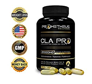 Prometheus Wellness Premium CLA PRO 2000 mg 120 Count Conjugated Linoleic Acid Softgels High Potency Optimum Dosage Best Pure Safflower Oil Belly Fat Burner Weight Loss Supplement for Men & Women 1250