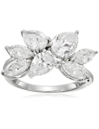 Sterling Silver White Cluster Made with Swarovski Zirconia Ring, Size 7