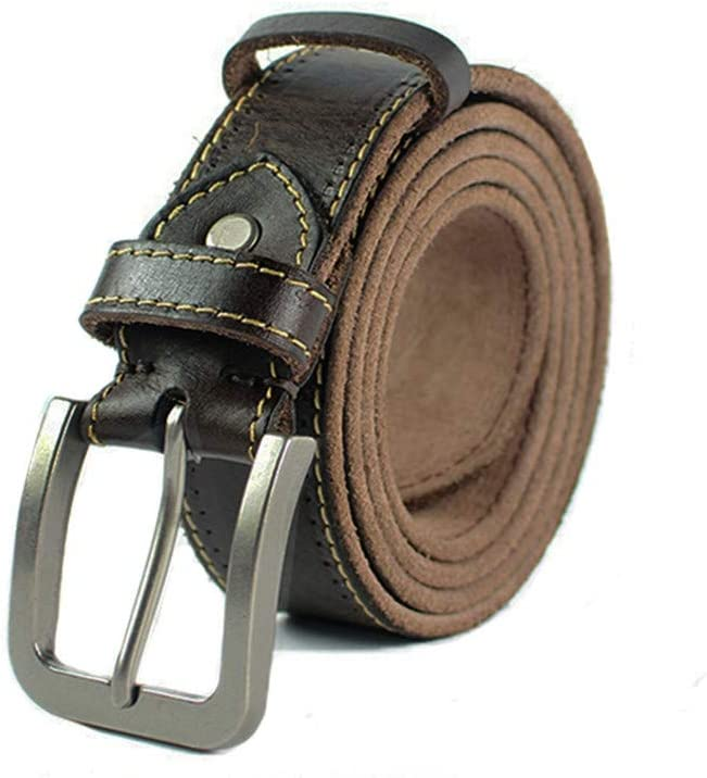 H-M-STUDIO MenS Belt Water Shampoo Layer Pure Leather Trousers And Old Leather Casual Belts.
