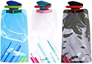 Foldable Water Bottle Leak-Proof Reusable Collapsible Portable and Ultra Durable Water Bag for Travel Adventur
