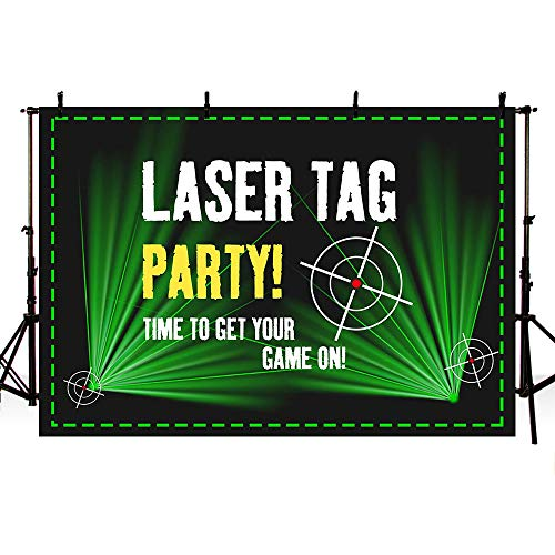 (MEHOFOTO Laser Tag Party Backdrops Photography Black and Green Laser Battle Birthday Party Night Neon Game On Indoor Gun Laser Tag Glow Photo Studio Backgrounds Banner 7x5ft)