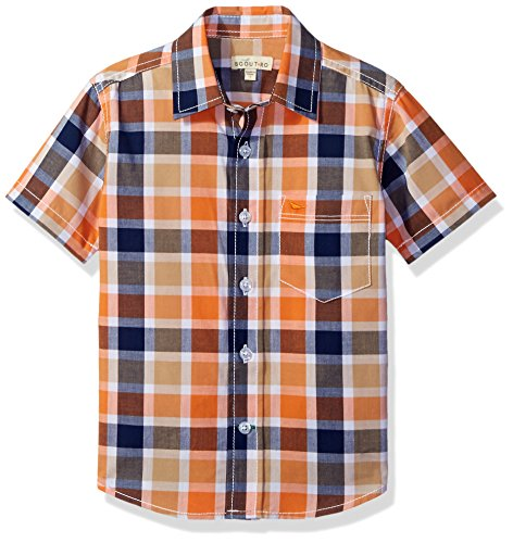 Scout + Ro Big Boys' Short-Sleeve Check Shirt, Aphid Oran...