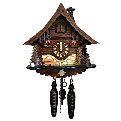 Alexander Taron 471QM Engstler Battery-Operated Cuckoo Clock - Full Size - 9.75 H x 10 W x 6.5 D, Brown