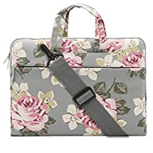 Mosiso Canvas Fabric Rose Pattern Laptop Shoulder Messenger Handbag Case Cover Sleeve for 13-13.3 Inch MacBook Pro, MacBook Air, Surface Book, Notebook Computer, Gray