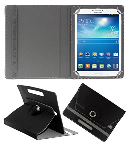 Acm Rotating 360 Leather Flip Case Compatible with Samsung Galaxy Tab 3 T311 Tablet Cover Stand Black