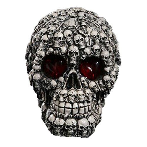 [MagiDeal LED Homosapiens Skull Statue Figurine Human Skeleton Head Halloween Decor #1] (Halloween Decor Online)