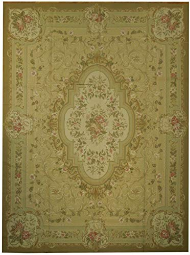 (Green Hand-Woven 9' x 12' Sage with Beige Tone French Design Aubusson)