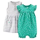 Carter's Baby Girls' 2 Piece Dress & Romper Set (Baby) - Turquoise - 6 Months
