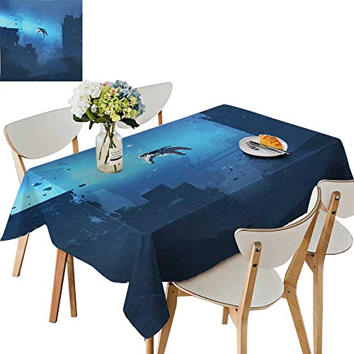 UHOO2018 Square/Rectangle Indoor and Outdoor Tablecloth House Astronaut Hovering in The Abandoned City Mysterious Space Lost in Galaxy Restaurant Party,50 x102inch ()