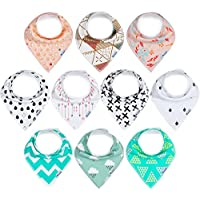 10-Pack Bandana Bibs Upsimples Baby Drool Bibs for Drooling and Teething
