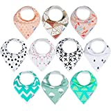 10-Pack Bandana Bibs Upsimples Baby Drool Bibs for