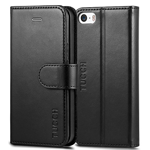 iPhone SE Case, iPhone 5s Case, TUCCH Wallet Case for iPhone SE / iPhone 5s / iPhone 5, Flip Leather Wallet Cases Slim Folio Book Cover with Credit Card Slots, Cash Clip, Stand Holder, Magnetic Closure, Black