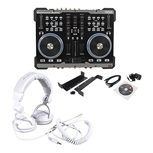 Package: American Audio VMS2 USB MIDI DJ Controller W/Built-In Soundcard Touch Scratch Wheel Virtual DJ LE software + American Audio HP550 Lava Red/Black Over-the-Ear High-Powered DJ Headphones ()