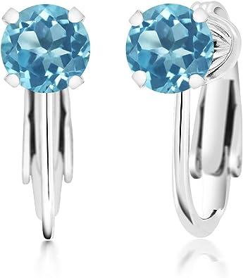 Silver earrings with topaz topaz earrings bright blue topaz earrings 925 silver earring silver circle earrings