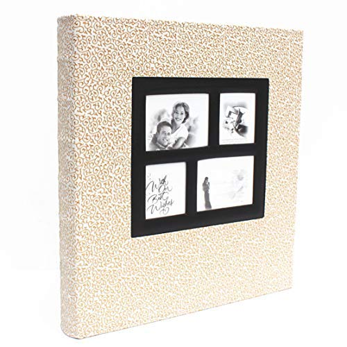 - 400 Photo - Family Wedding Anniversary Baby Vacation Album Sewn Bonded Leather Book Bound Bi-Directional 400 4x6 Photos 5 per Page. - Large Capacity Deluxe Customizable (Gold Squiggle)