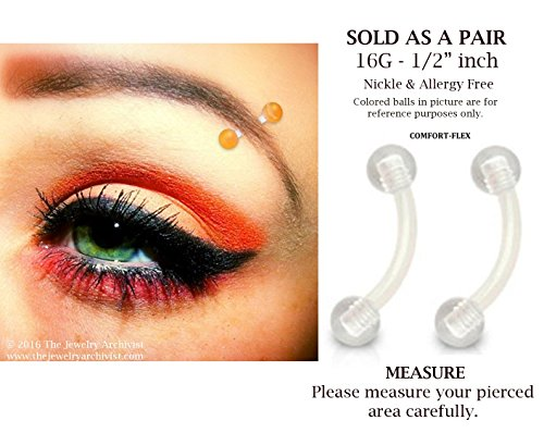 Pair of CLEAR Bioflex PTFE Flexible Eyebrow Rings Piercing Retainers W/ CLEAR 3mm UV Balls - 16g (1/2' Clear Acrylic)