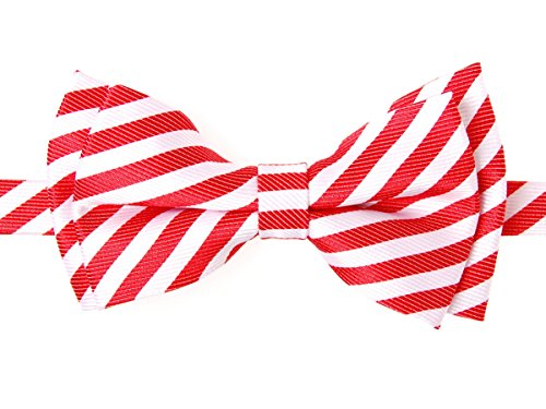 (Retreez Striped Woven Microfiber Pre-tied Boy's Bow Tie - Red and White Stripe - 4-7 years)
