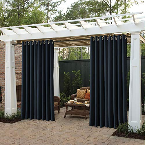 cololeaf Outdoor Curtains for Patio Extra Wide Waterproof Curtain Panels for Porch, Gazebo, Pergola, Cabana, Dock, Beach Home - Grommet - Navy 150