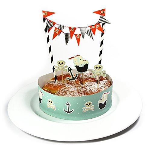 Kuchen Deko Set - Pirat - / Kuchengirlande Geburtstag / Kuchenaufsatz / Tortengirlande