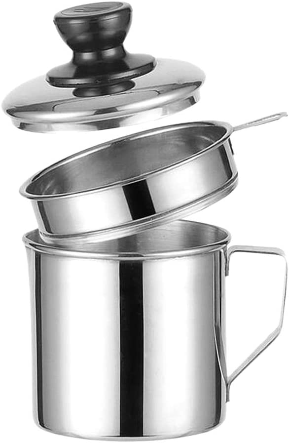 Fityle Bacon Grease Container With Strainer, Cooking Frying Oil Storage, Stainless Steel Grease Filter, Separator And Keeper, Kitchen Tools - 10cm