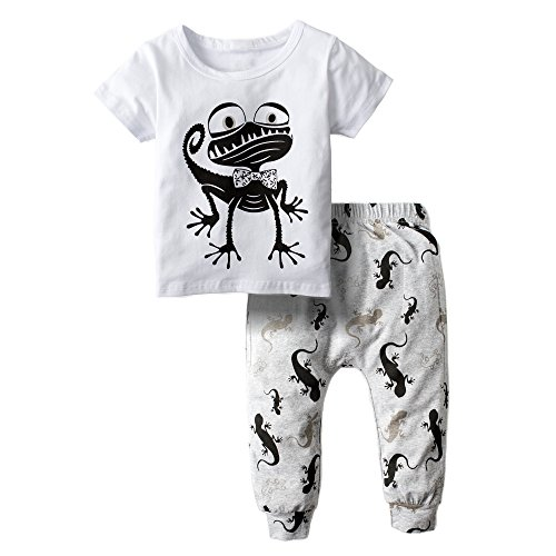 BIG ELEPHANT Baby Boys' 2 Piece Graphic Summer Short Sleeve Pants Clothing Set H74-70(3-6 Months