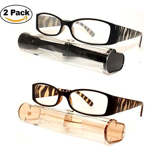 Glass Animal Print (2 Pairs Animal Print Zibra Tiger Women Square Rectangular Shape Reading Glasses Readers + Hard Case (Strength: +1.75))