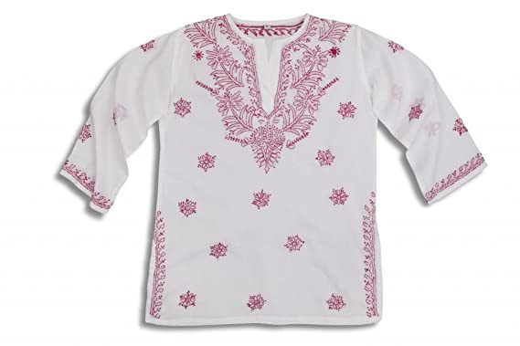 478778ac08ec Image Unavailable. Image not available for. Colour  Mini Children s White  Beach Cover Up Kaftan with Rapsberry Pink Hand Embroidery