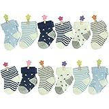 6-18 Months Socks, Unisex Baby Infant Newborn Summer Socks Star Stripe Cute Soft Cotton Crew Socks 12 Pairs,Colorfox