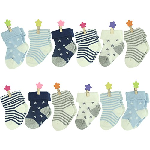 Colorfox Unisex Baby Infant Newborn Star Stripe Cute Soft Cotton Crew Socks 12 Pairs,6-18 Months