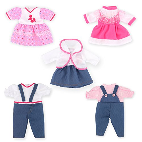 11-13 Inch Alive Newborn Reborn Baby Doll Clothes Outfits-Doll Accessories Clothing for 12 Inch Baby Doll Girl (Dresses,Sleeveless Skirt, Jumpsuit,Coat,Set of 5)