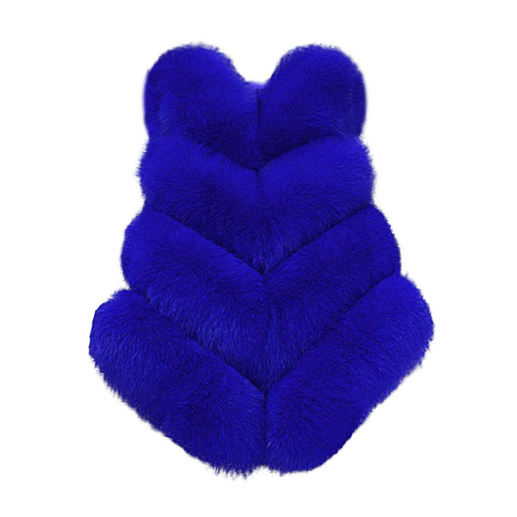 Eoeth Slim Vest Like Womens Gilet Outwear Warm Faux Fur Waistcoat Jacket Coat Faux Fur Shearling Shaggy Top Blouse Blue by Eoeth
