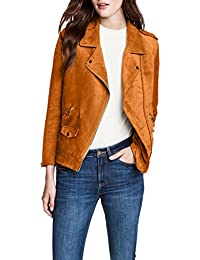 Womens Motocyle Faux Suede Leather Short Moto Jacket