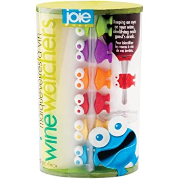 Joie Wine Watchers Set, Silicone, Assorted Colors, 6-Piece Set
